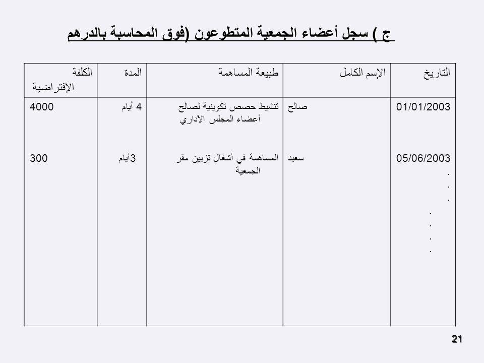 ج ) سجل أعضاء الجمعية المتطوعون (فوق المحاسبة بالدرهم