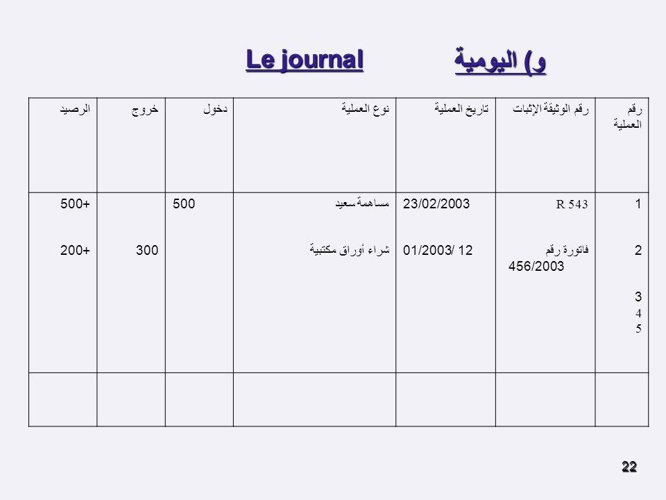 و) اليومية Le journal رقم العملية رقم الوثيقة الاٍثبات تاريخ العملية