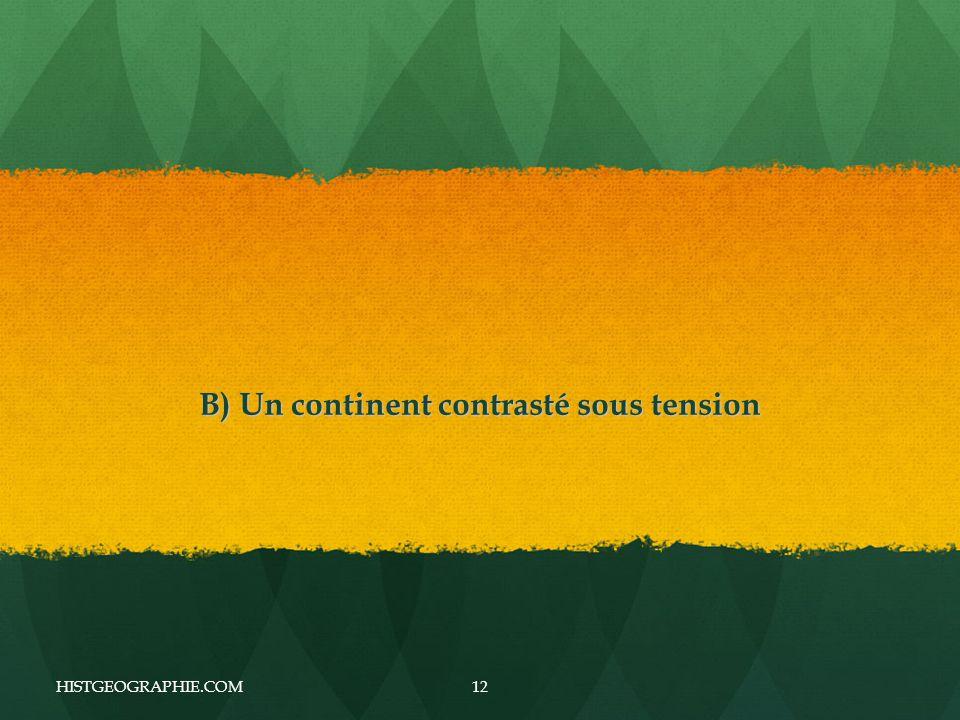 B) Un continent contrasté sous tension