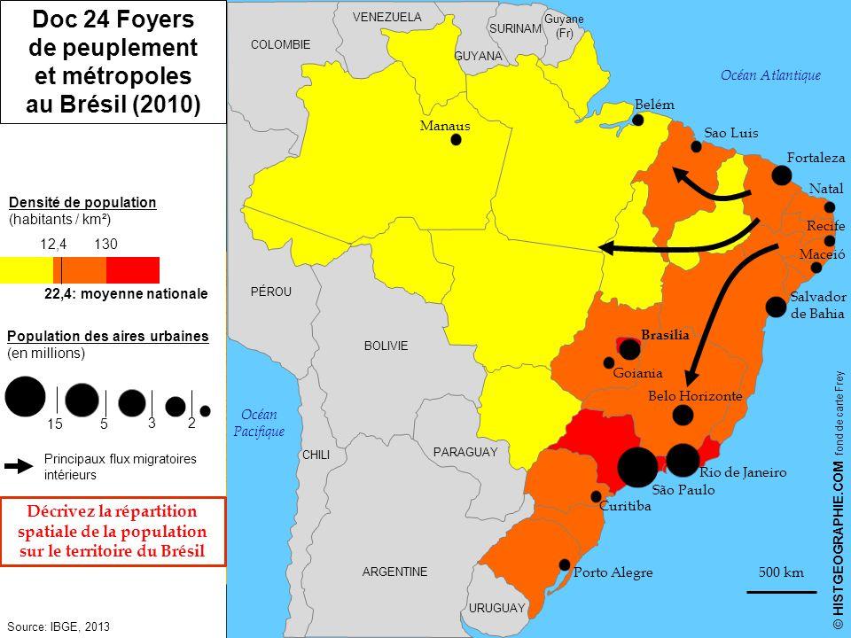 Doc 24 Foyers de peuplement et métropoles au Brésil (2010)