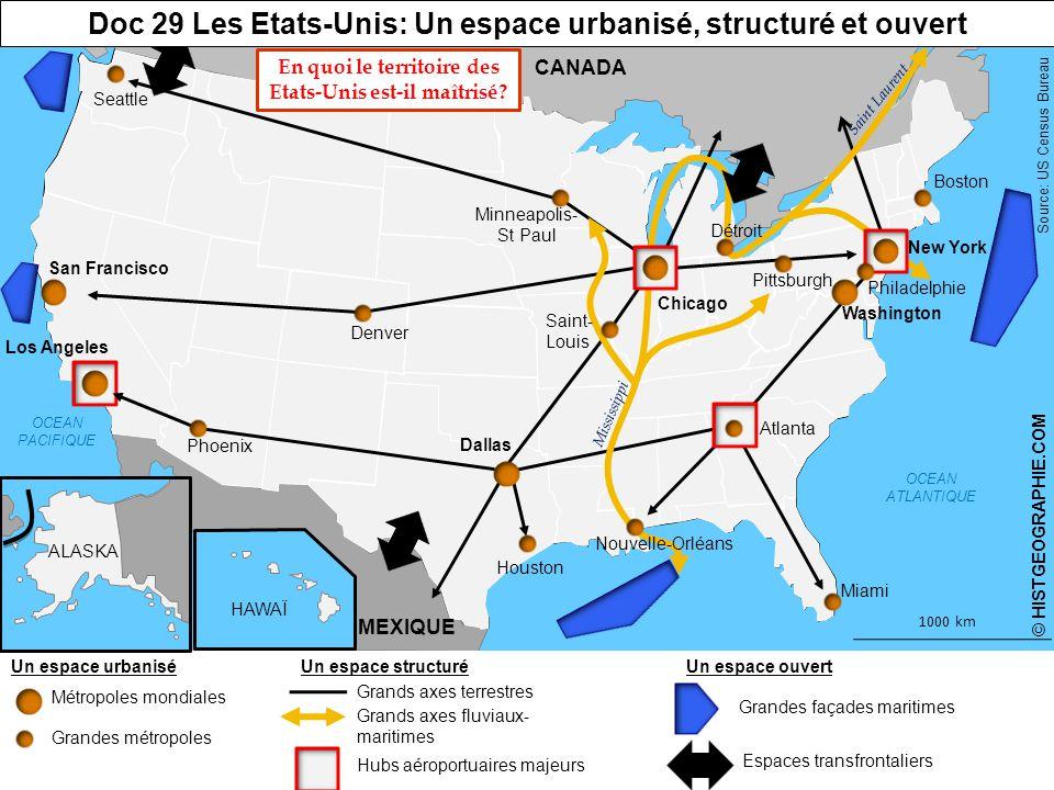 Doc 29 Les Etats-Unis: Un espace urbanisé, structuré et ouvert
