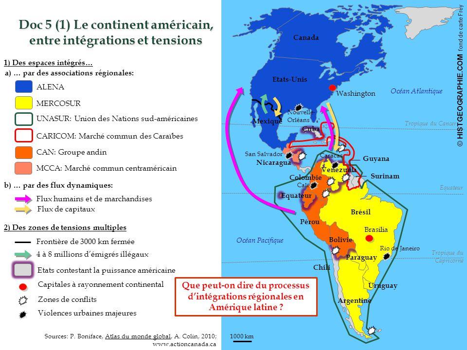 Doc 5 (1) Le continent américain, entre intégrations et tensions