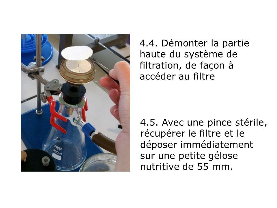 4.4. Démonter la partie haute du système de filtration, de façon à accéder au filtre