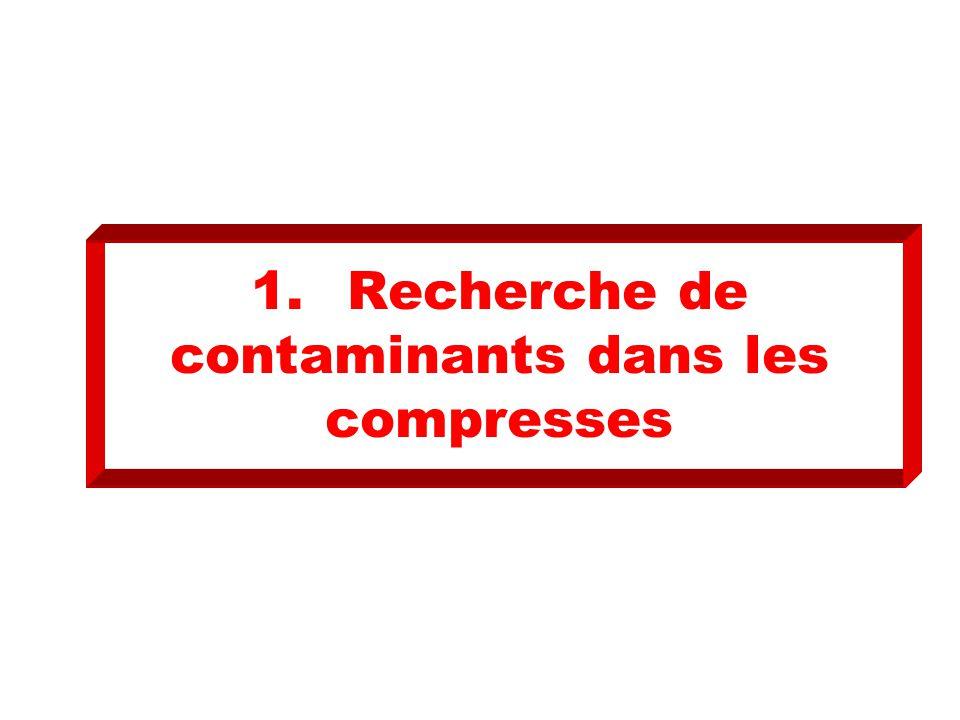 1. Recherche de contaminants dans les compresses