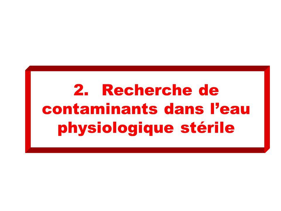2. Recherche de contaminants dans l'eau physiologique stérile