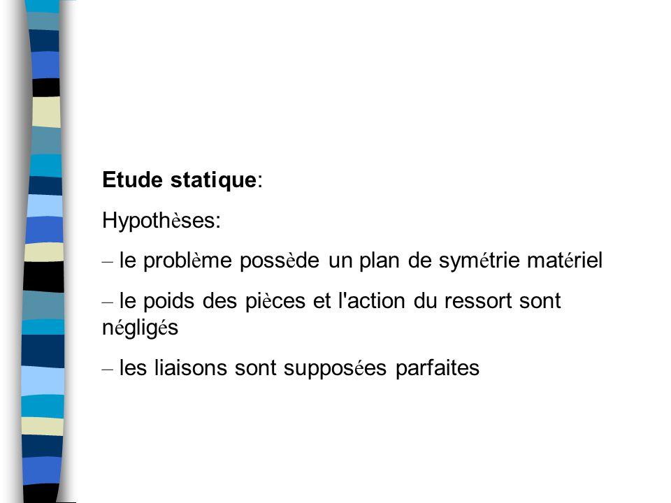 Etude statique: Hypothèses: – le problème possède un plan de symétrie matériel. – le poids des pièces et l action du ressort sont négligés.