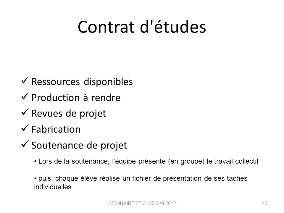 Contrat d études Ressources disponibles Production à rendre