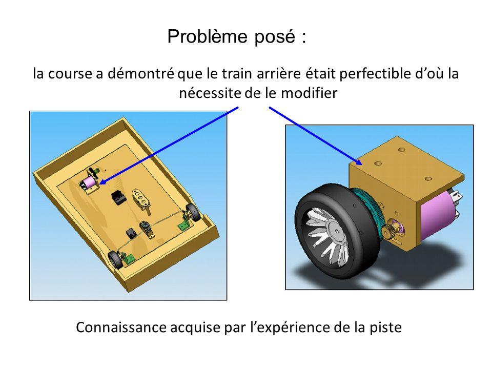Problème posé : la course a démontré que le train arrière était perfectible d'où la nécessite de le modifier.