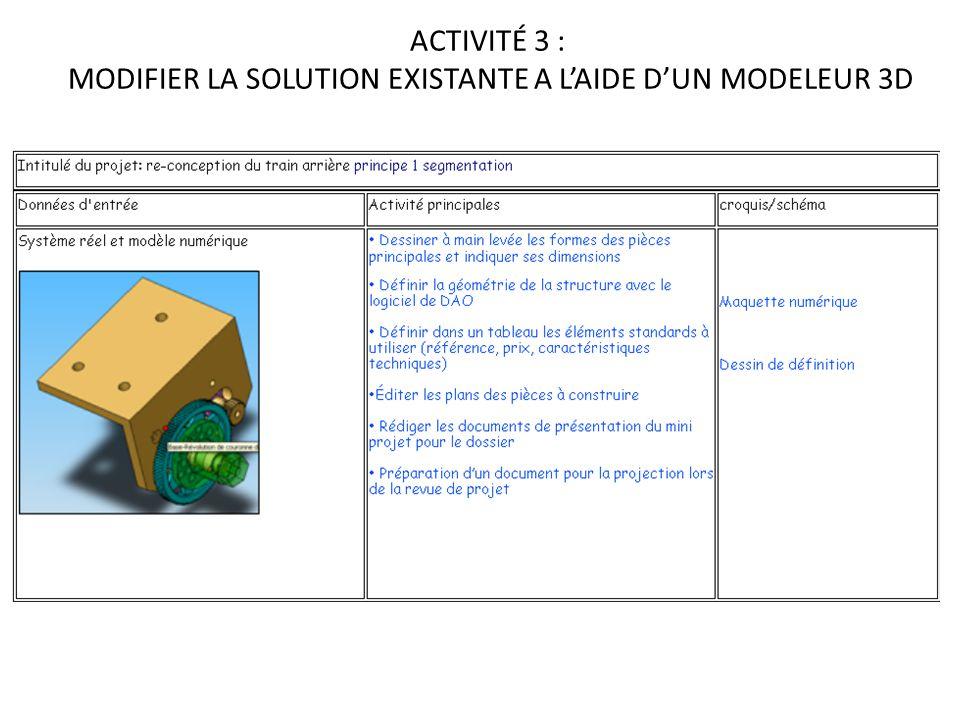 ACTIVITÉ 3 : MODIFIER LA SOLUTION EXISTANTE A L'AIDE D'UN MODELEUR 3D