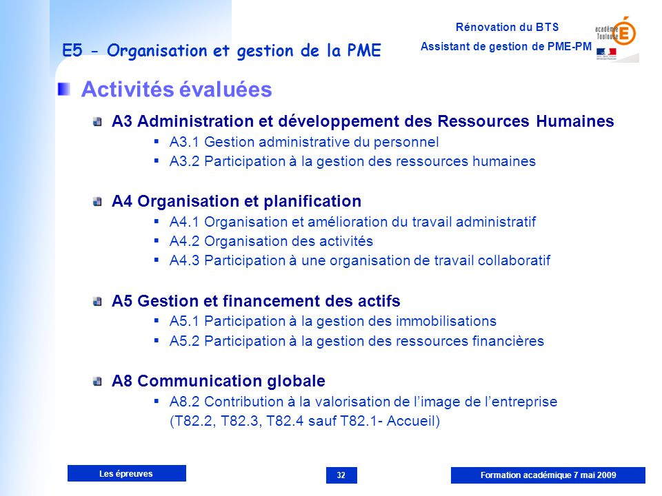 E5 - Organisation et gestion de la PME
