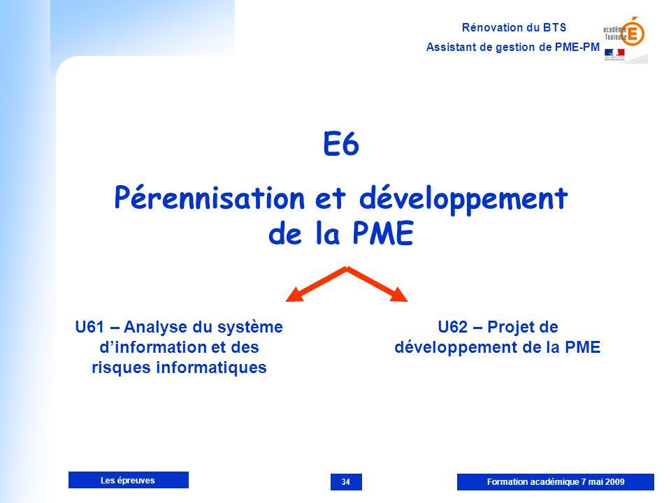 E6 Pérennisation et développement de la PME