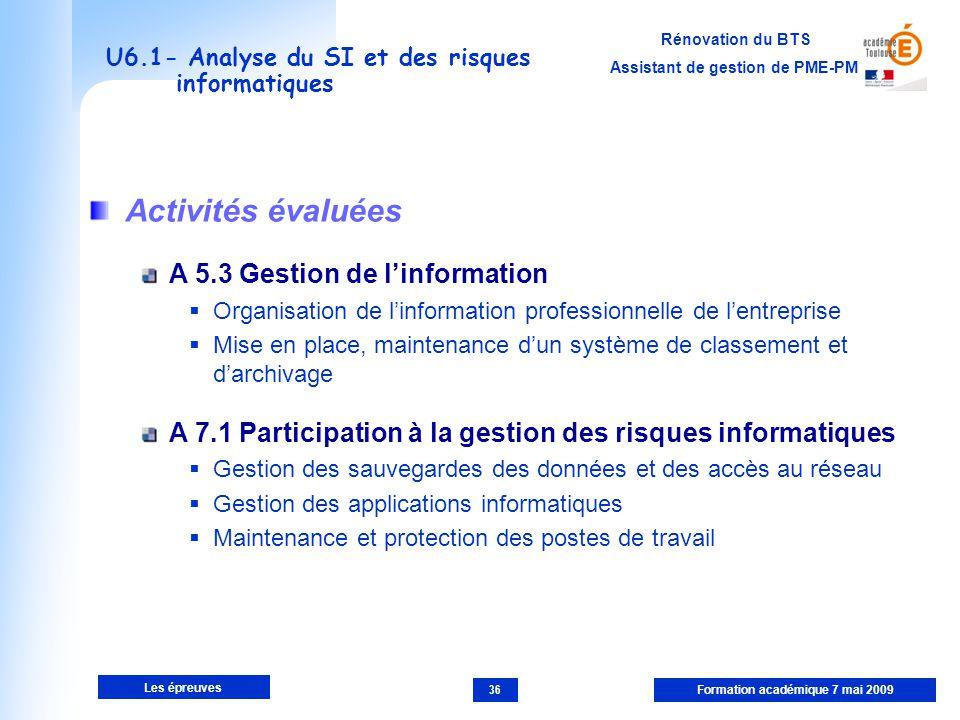 U6.1- Analyse du SI et des risques informatiques