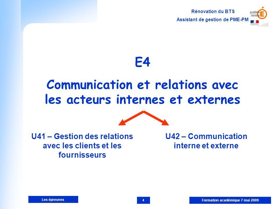 E4 Communication et relations avec les acteurs internes et externes