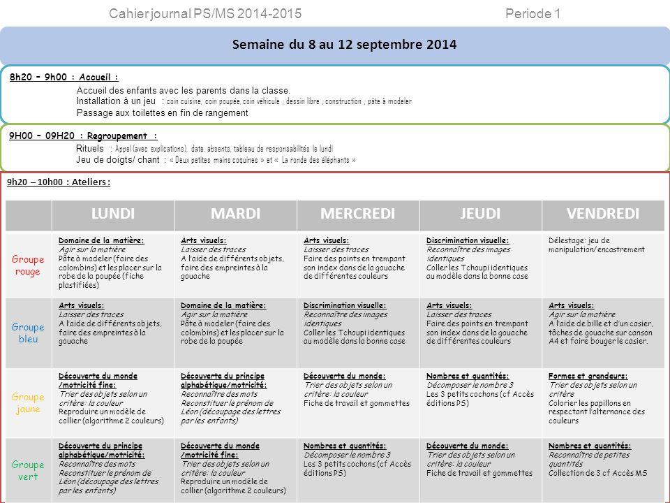 Semaine du 8 au 12 septembre 2014