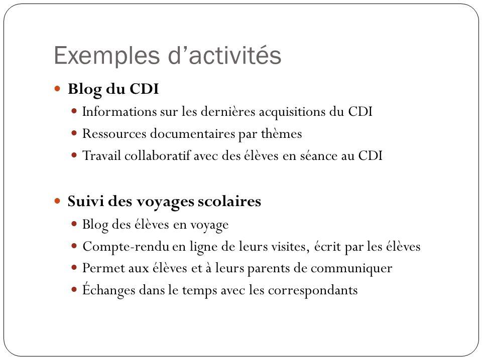 Exemples d'activités Blog du CDI Suivi des voyages scolaires