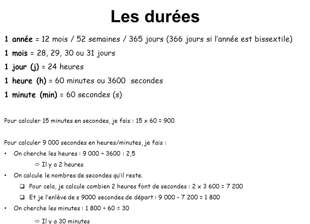 Les durées 1 année = 12 mois / 52 semaines / 365 jours (366 jours si l'année est bissextile) 1 mois = 28, 29, 30 ou 31 jours.