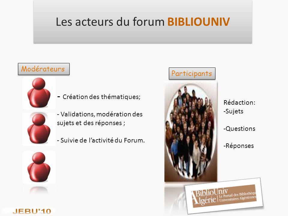 Les acteurs du forum BIBLIOUNIV