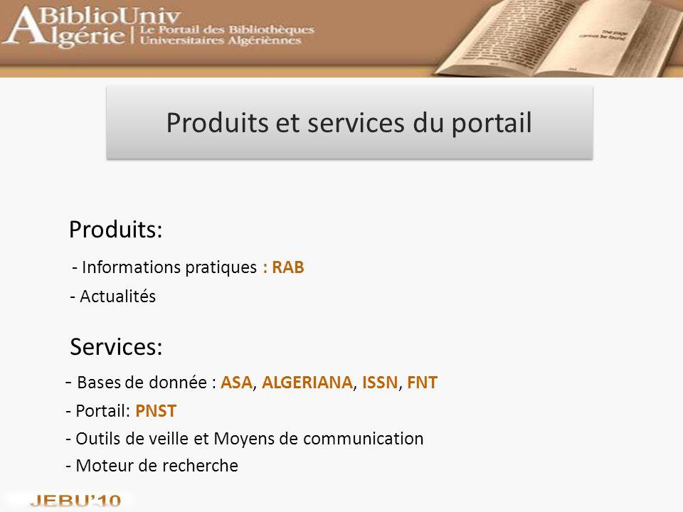 Produits et services du portail