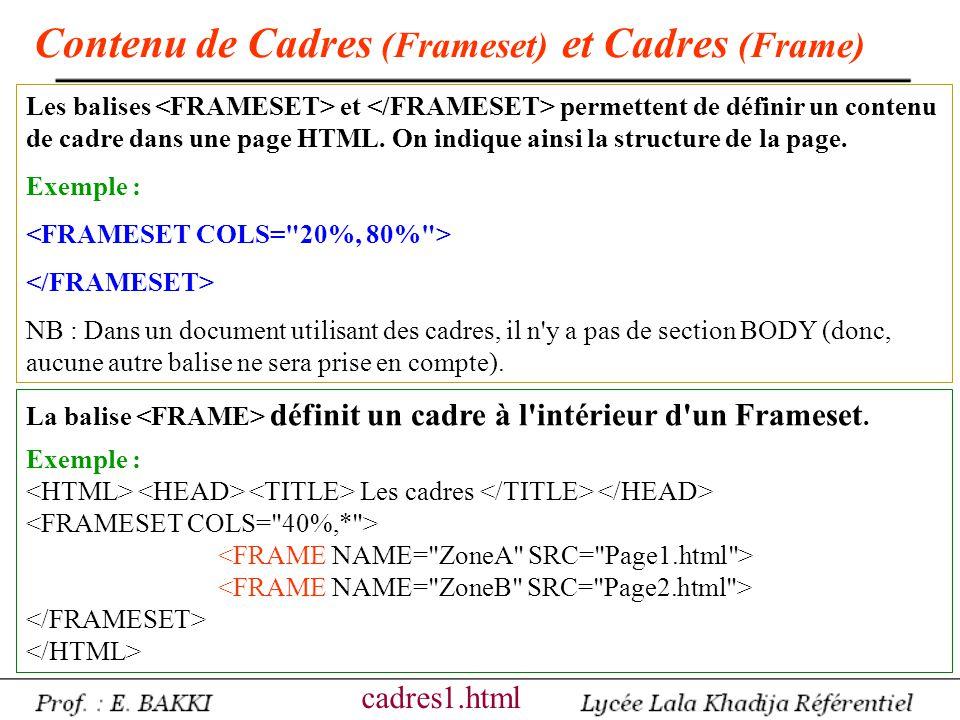 Contenu de Cadres (Frameset) et Cadres (Frame)