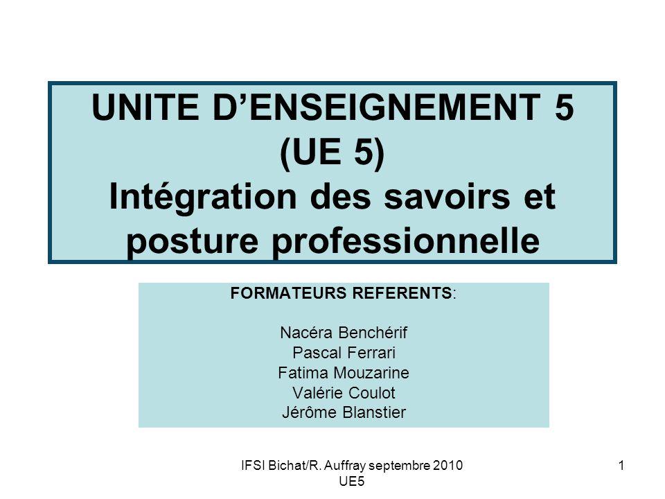 UNITE D'ENSEIGNEMENT 5 (UE 5) Intégration des savoirs et posture professionnelle
