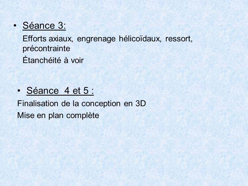 Séance 3: Efforts axiaux, engrenage hélicoïdaux, ressort, précontrainte. Étanchéité à voir. Séance 4 et 5 :