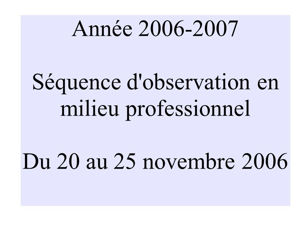 Année 2006-2007 Séquence d observation en milieu professionnel Du 20 au 25 novembre 2006