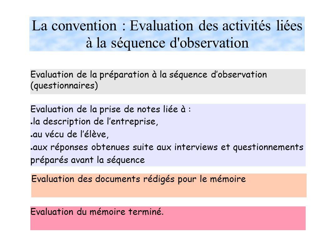 La convention : Evaluation des activités liées à la séquence d observation