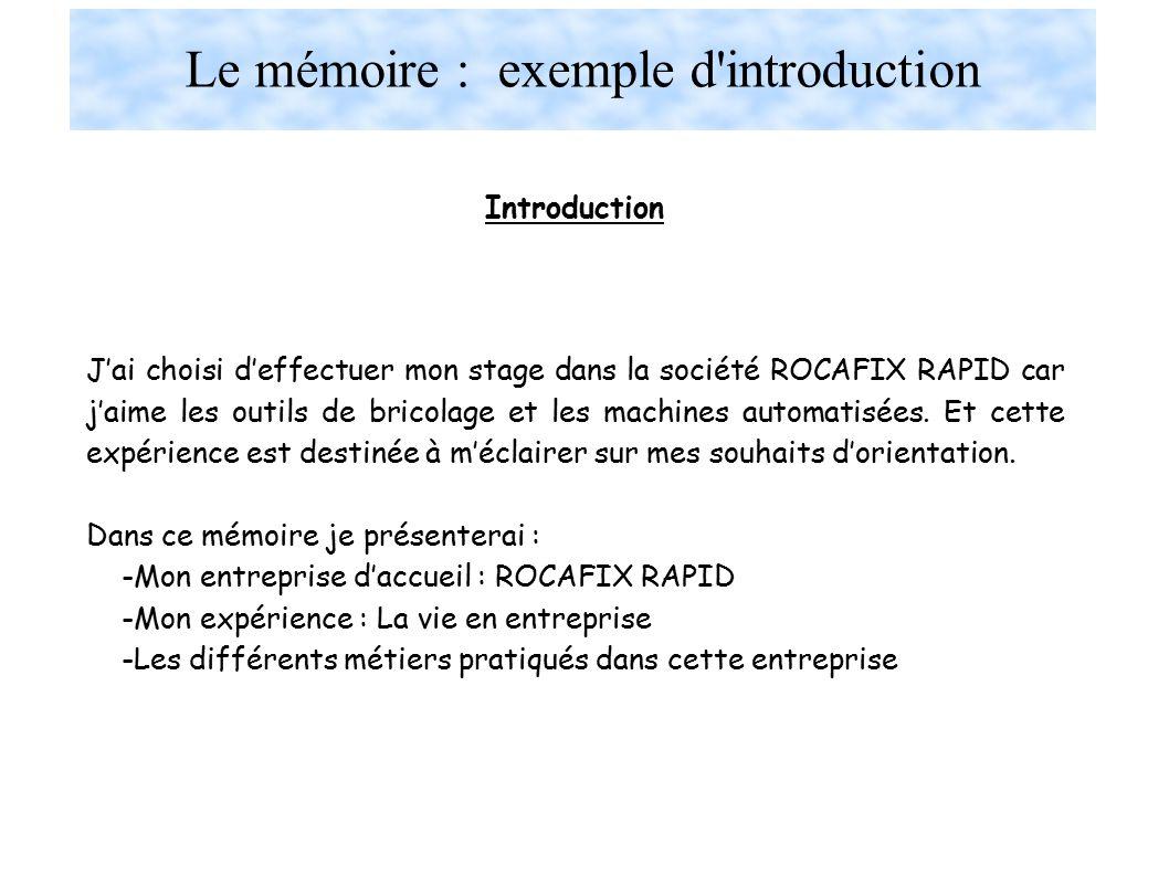 Le mémoire : exemple d introduction