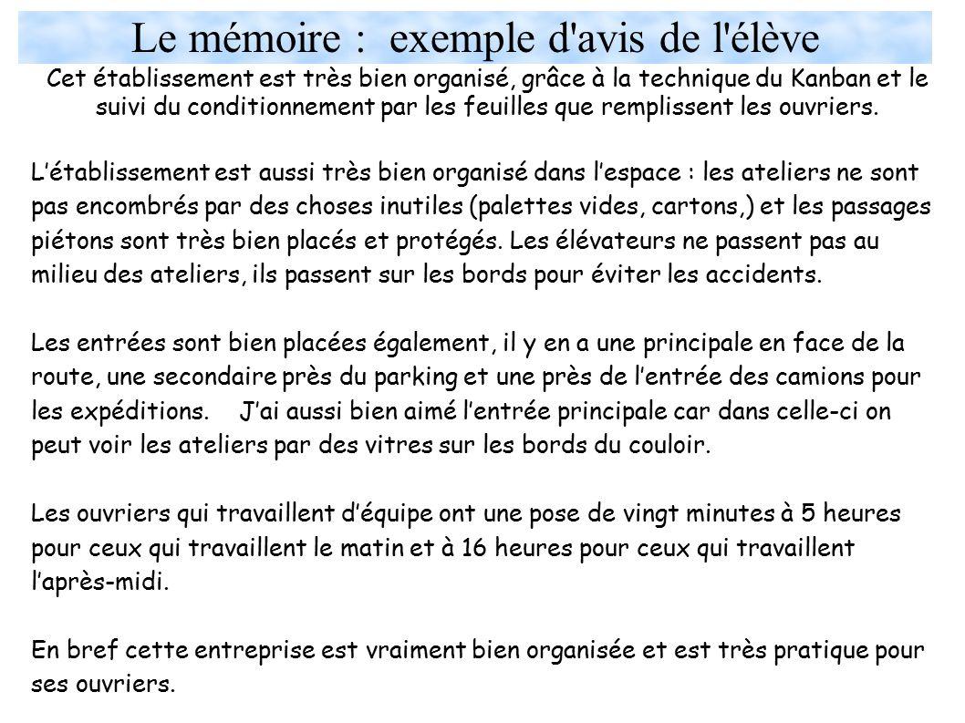 Le mémoire : exemple d avis de l élève
