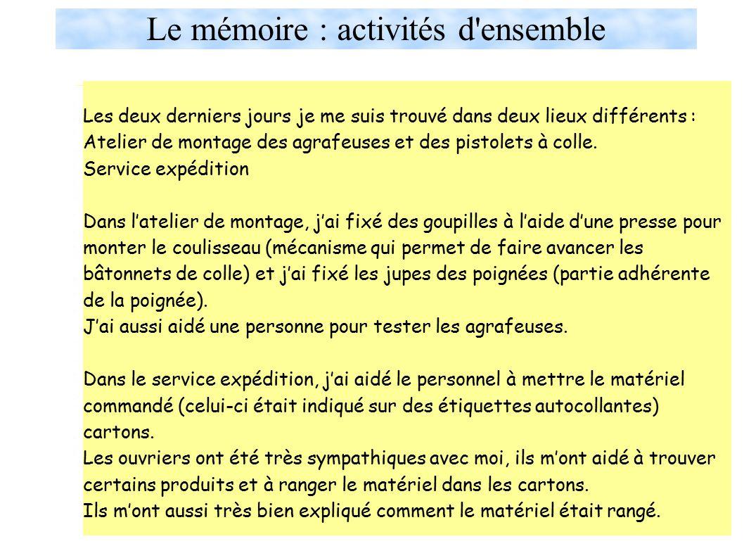 Le mémoire : activités d ensemble
