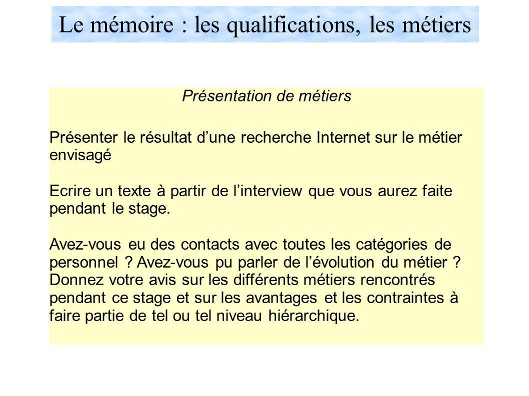 Le mémoire : les qualifications, les métiers