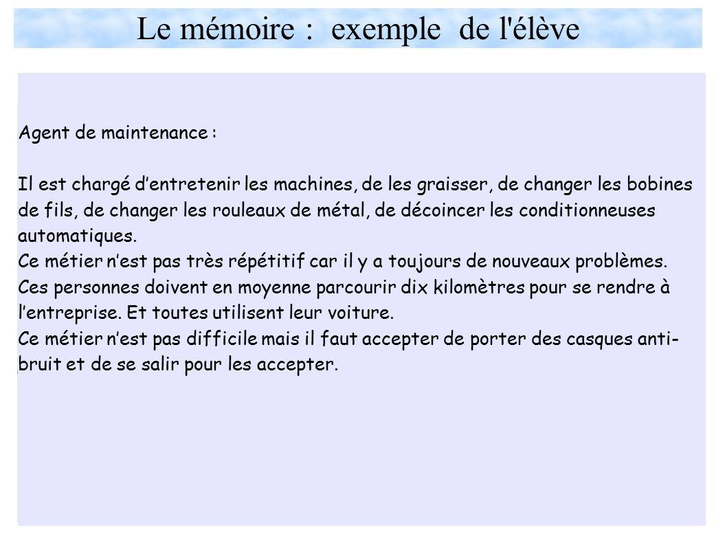 Le mémoire : exemple de l élève