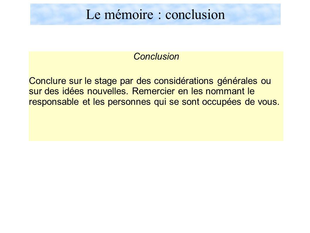 Le mémoire : conclusion