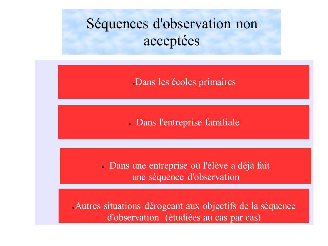 Séquences d observation non acceptées