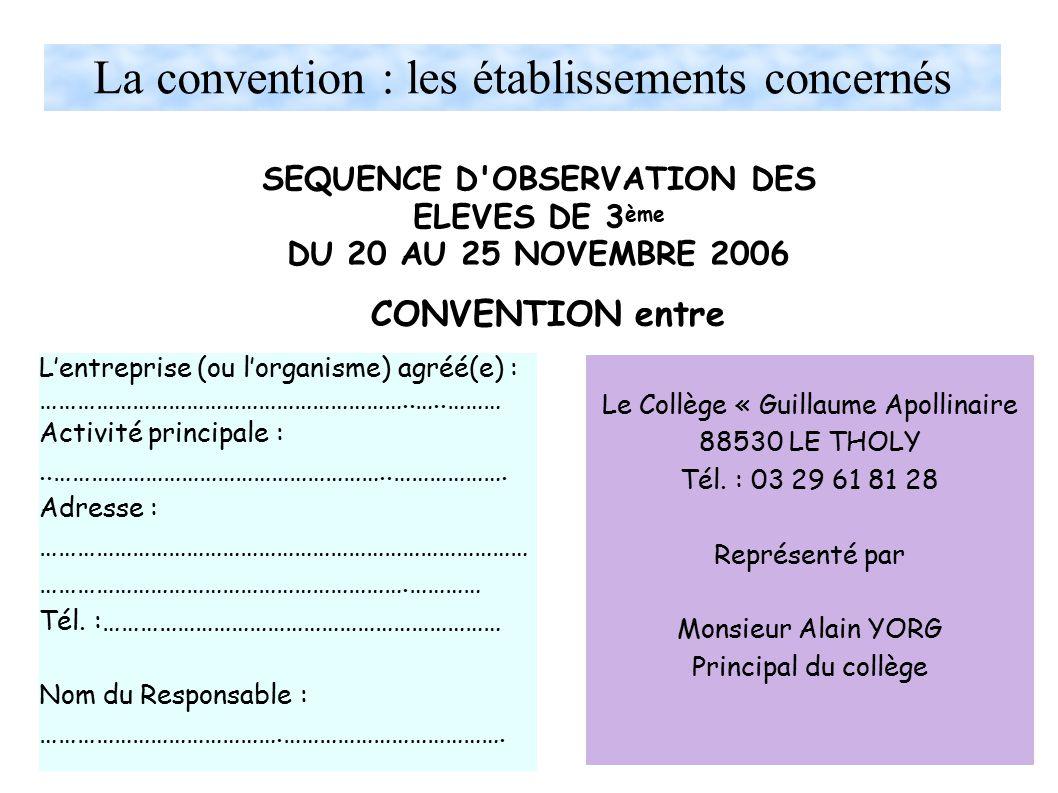 La convention : les établissements concernés