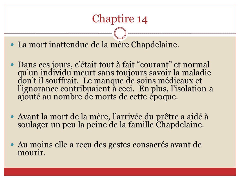 Chaptire 14 La mort inattendue de la mère Chapdelaine.
