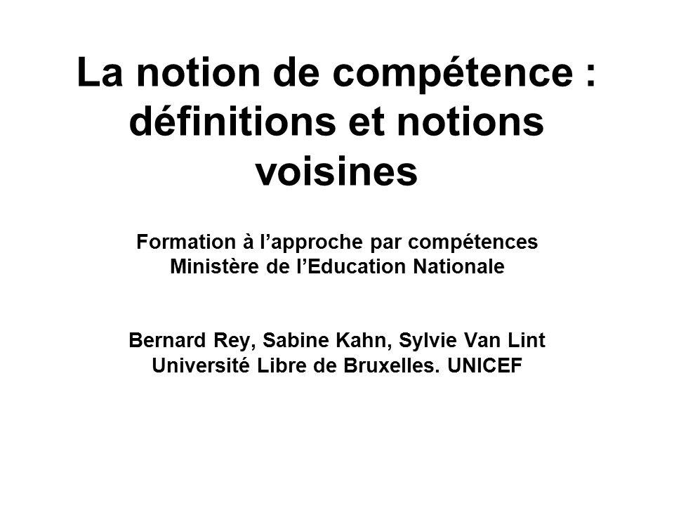 La notion de compétence : définitions et notions voisines