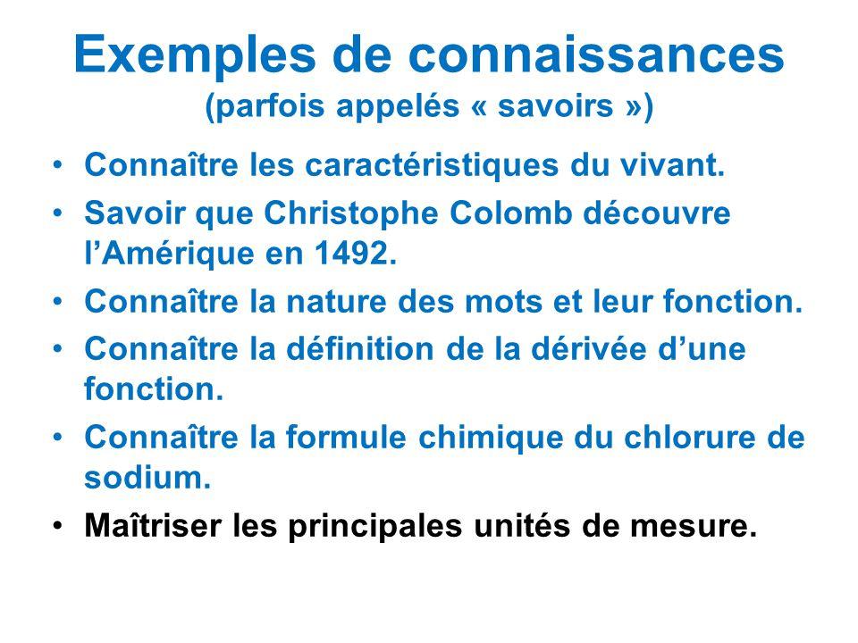 Exemples de connaissances (parfois appelés « savoirs »)