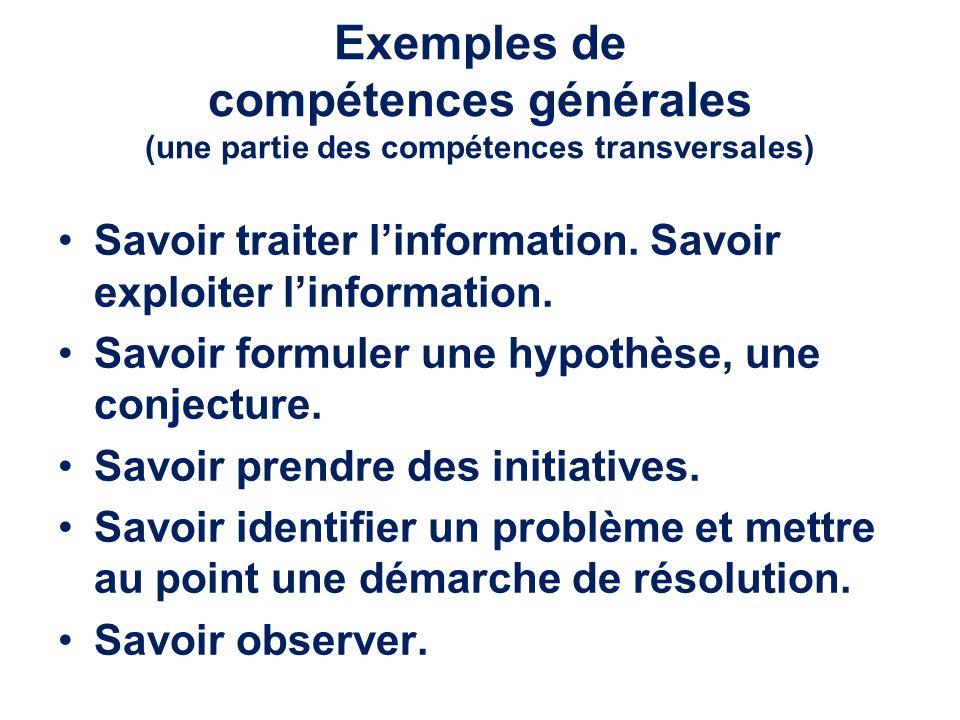 Exemples de compétences générales (une partie des compétences transversales)