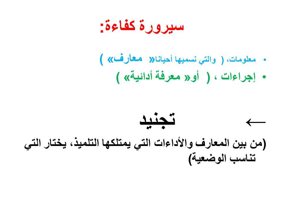 ← تجنيد سيرورة كفاءة: إجراءات ، ) أو» معرفة أدائية ( «