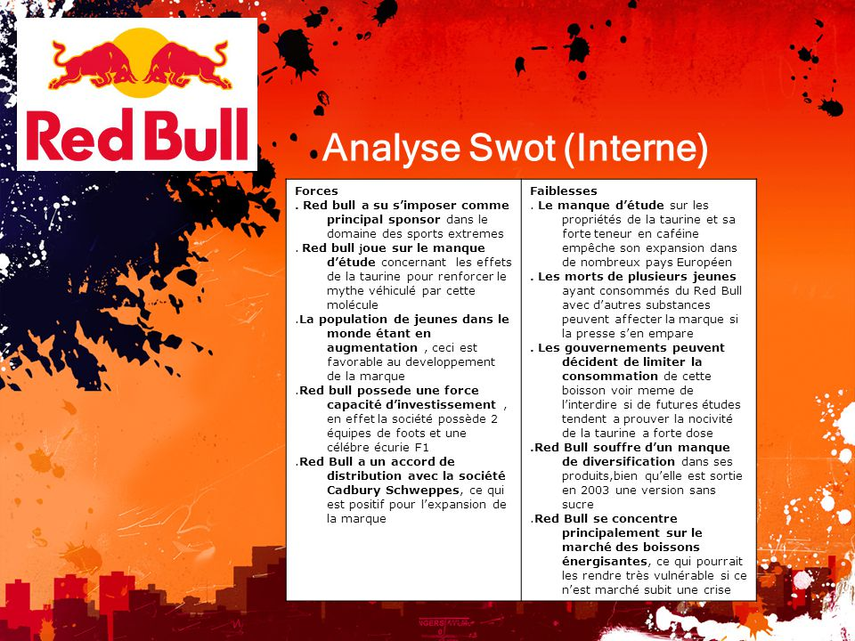 red bull swot uk Red bull is a privately-owned company founded by dietrich mateschitz in the mid 80's he created the red bull formula & launched it in austria in 1987.
