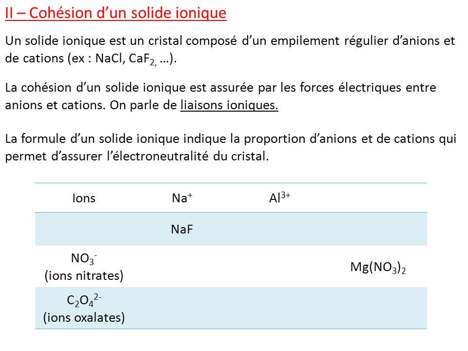 II – Cohésion d'un solide ionique