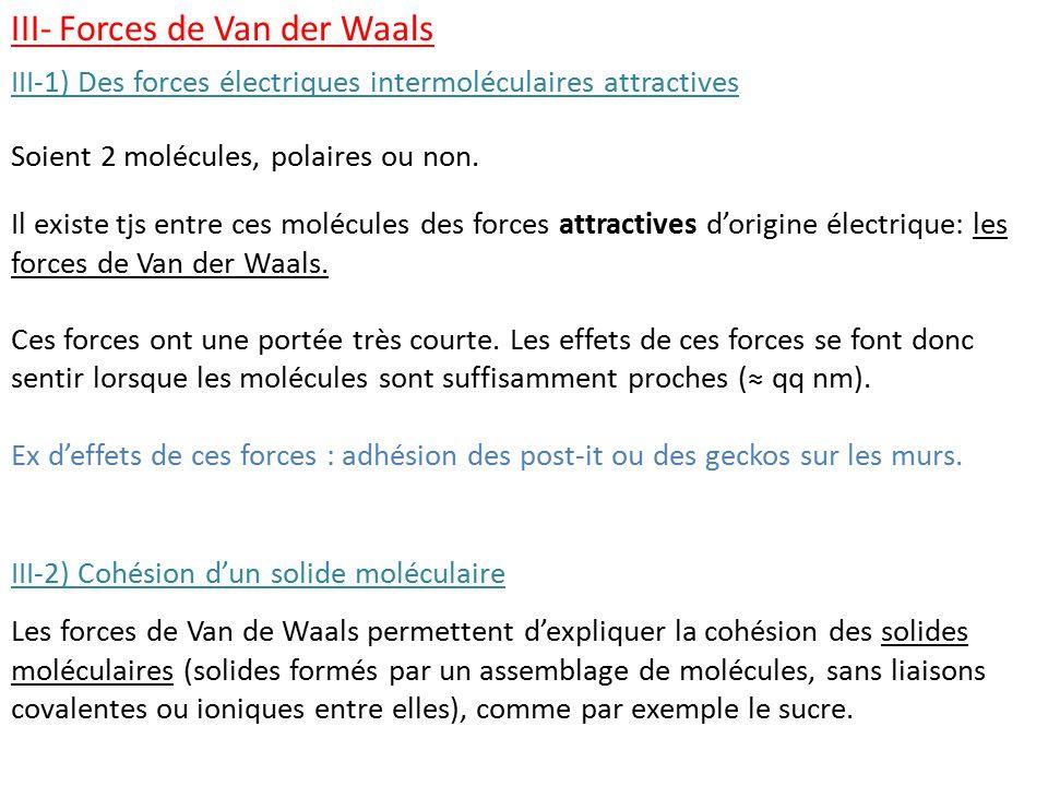 III- Forces de Van der Waals