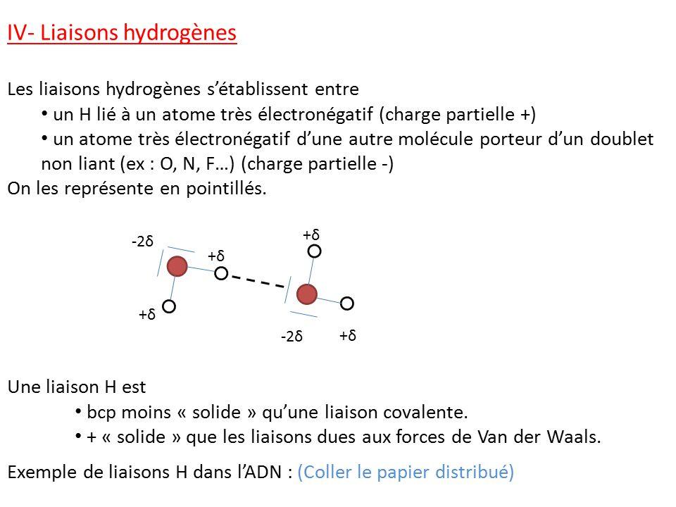 IV- Liaisons hydrogènes