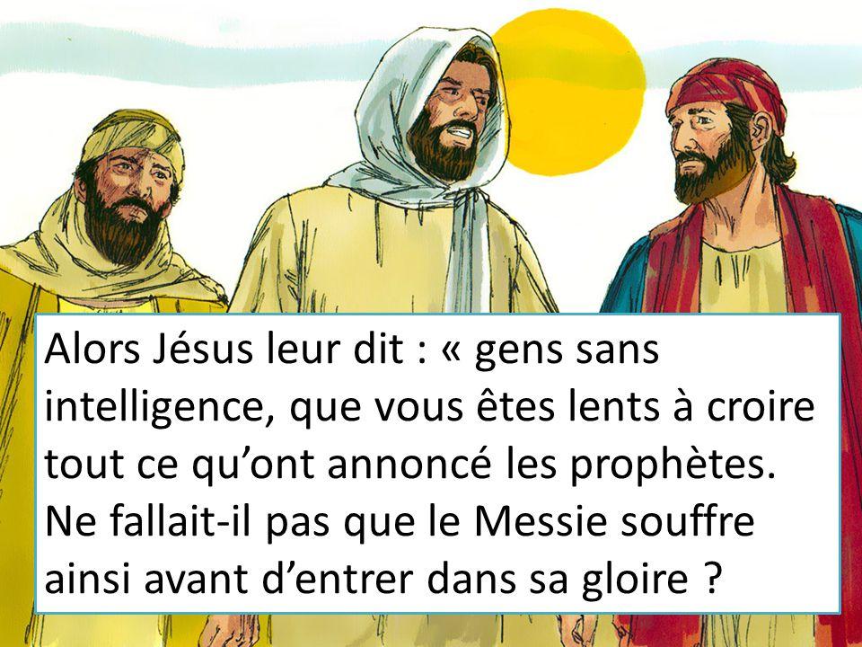 Alors Jésus leur dit : « gens sans intelligence, que vous êtes lents à croire tout ce qu'ont annoncé les prophètes.