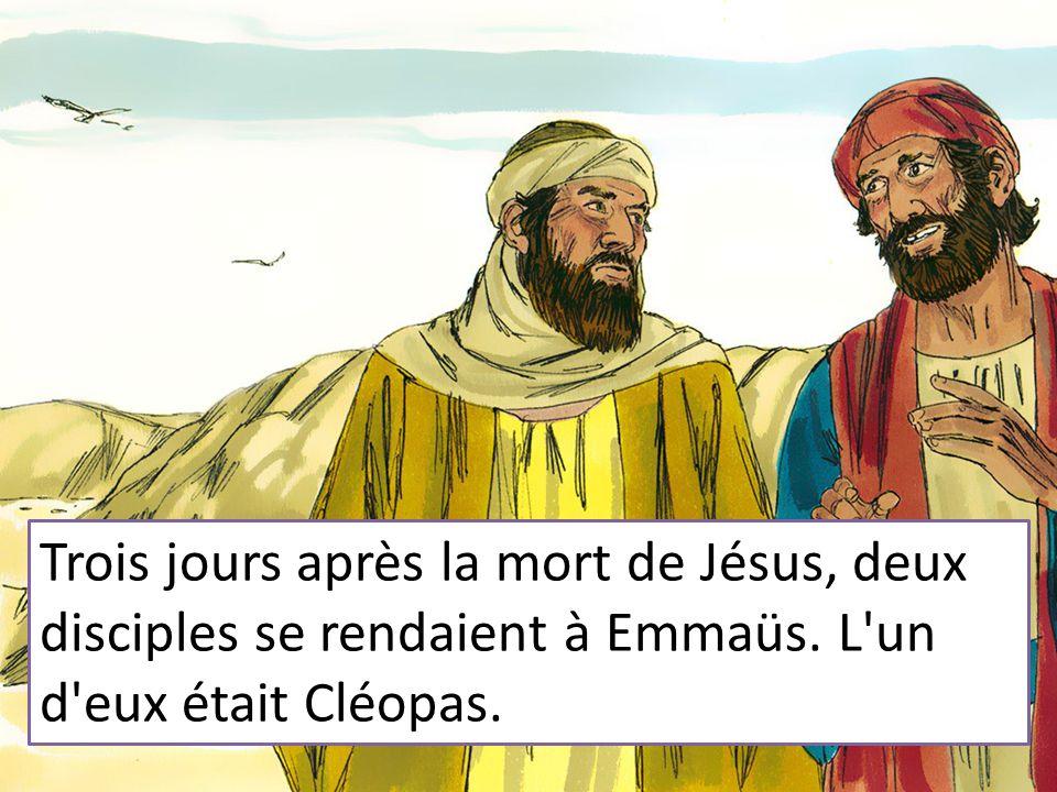 Trois jours après la mort de Jésus, deux disciples se rendaient à Emmaüs. L un d eux était Cléopas.