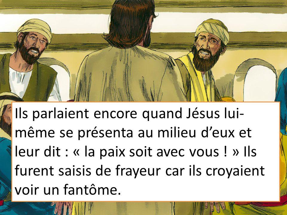 Ils parlaient encore quand Jésus lui-même se présenta au milieu d'eux et leur dit : « la paix soit avec vous ! » Ils furent saisis de frayeur car ils croyaient voir un fantôme.