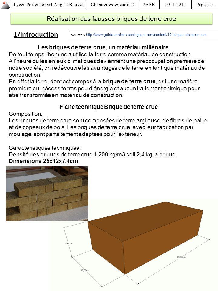 fiche technique brique de terre crue ppt video online t l charger. Black Bedroom Furniture Sets. Home Design Ideas