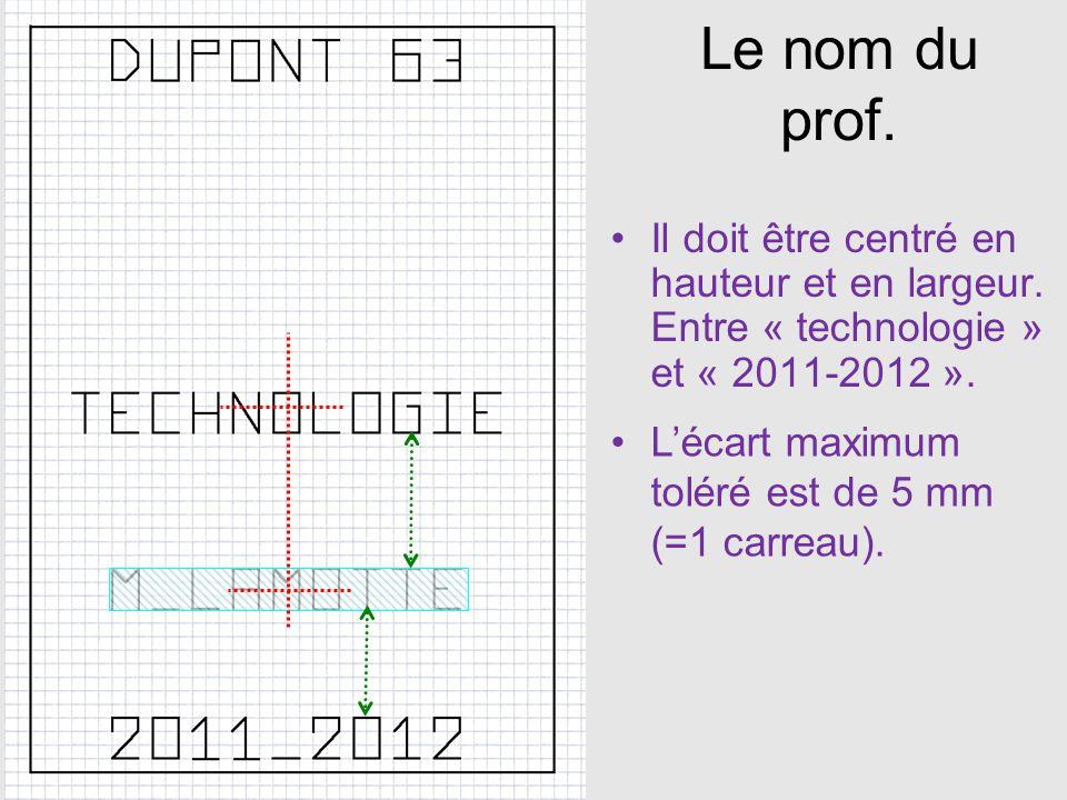 Le nom du prof. Il doit être centré en hauteur et en largeur. Entre « technologie » et « 2011-2012 ».