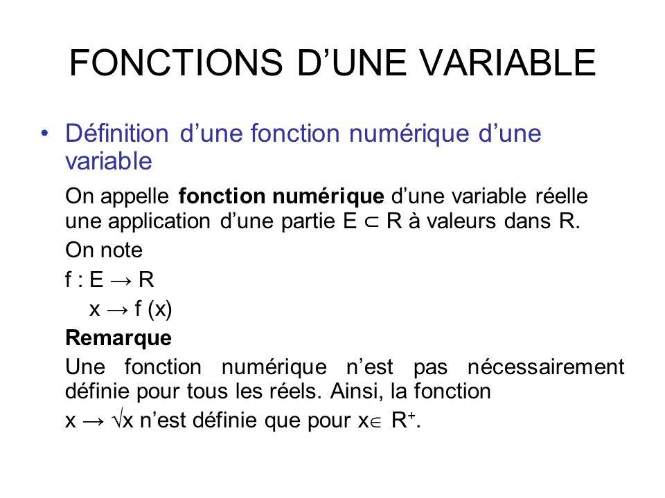 fonction numérique d'une variable réelle seconde